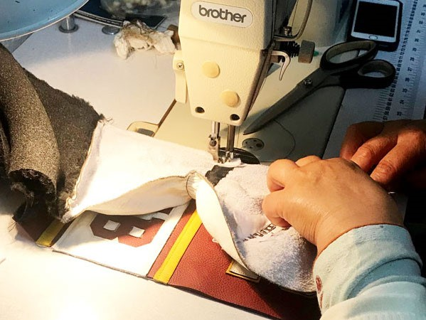 Sewing together all of the component parts of the Personalised Golf Headcover
