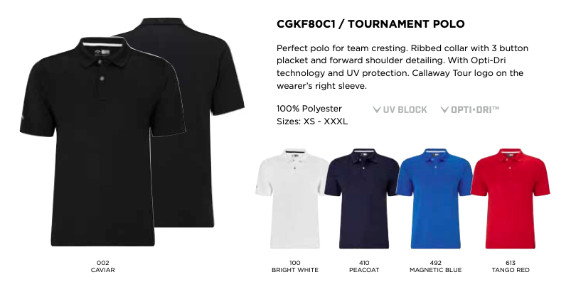 Colours for Callaway Tournament Polo Shirts