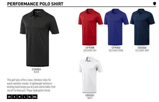 Colours for Adidas Performance Polo Shirts