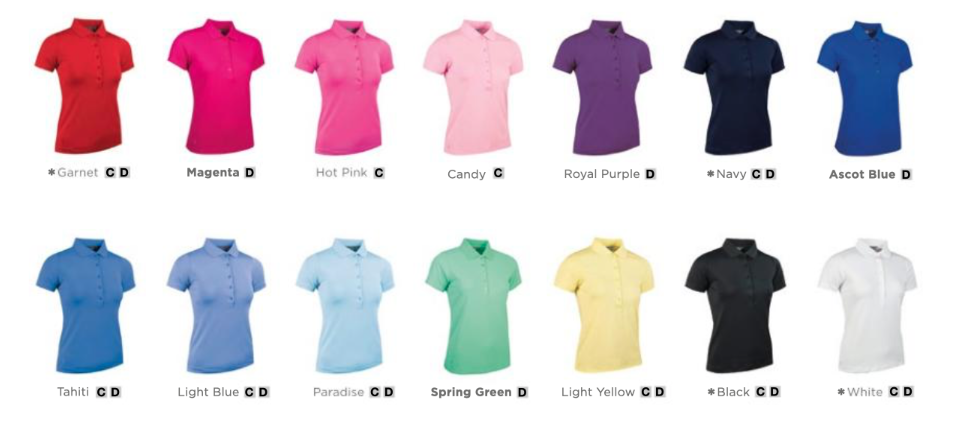 Colours for the Glenmuir Paloma Ladies polo
