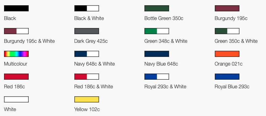 Colours for canopy of corporate budget golf umbrella