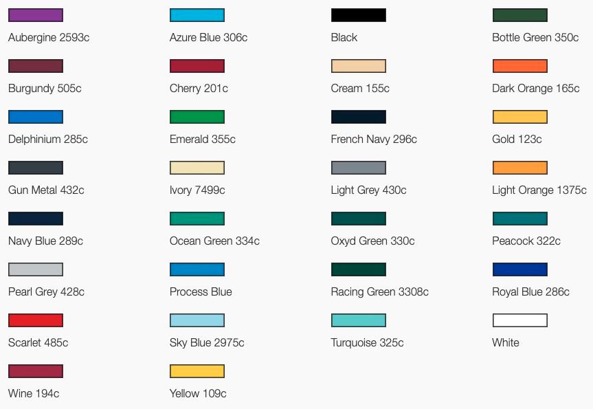 Colour options for bedford golf umbrella canopy