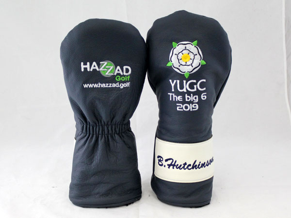 Image of completed headcovers with embroidery