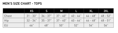 Size chart for mens adidas golf clothing